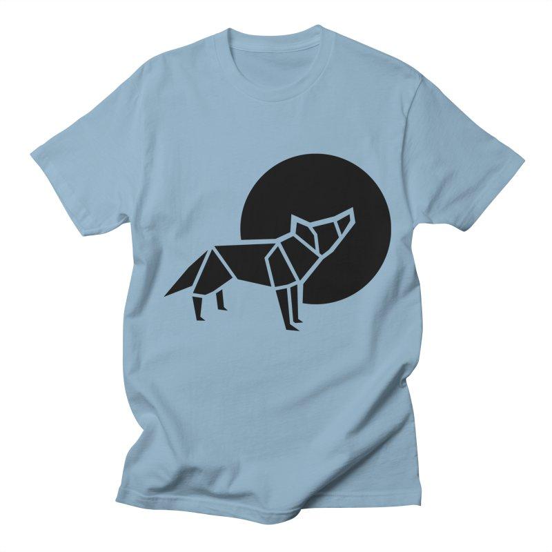 Black wolf origami Women's Regular Unisex T-Shirt by Synner Design