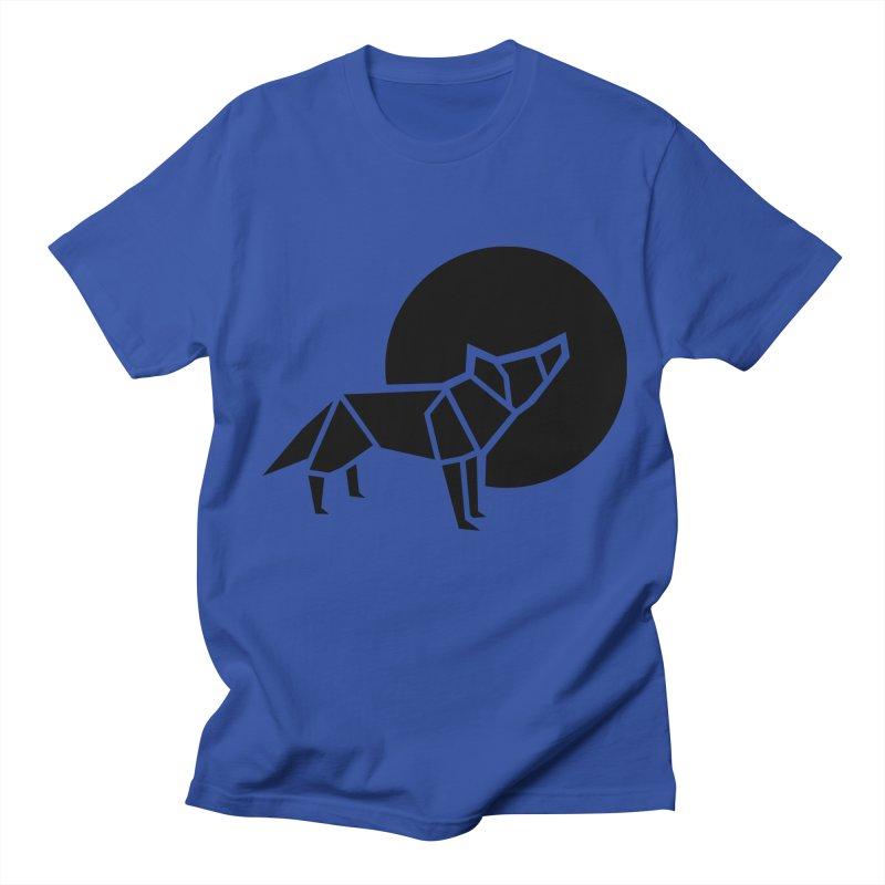 Black wolf origami Men's Regular T-Shirt by Synner Design