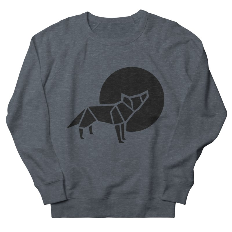 Black wolf origami Women's French Terry Sweatshirt by Synner Design