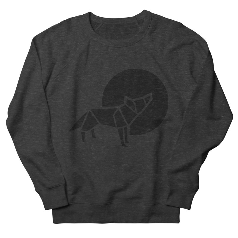 Black wolf origami Men's French Terry Sweatshirt by Synner Design