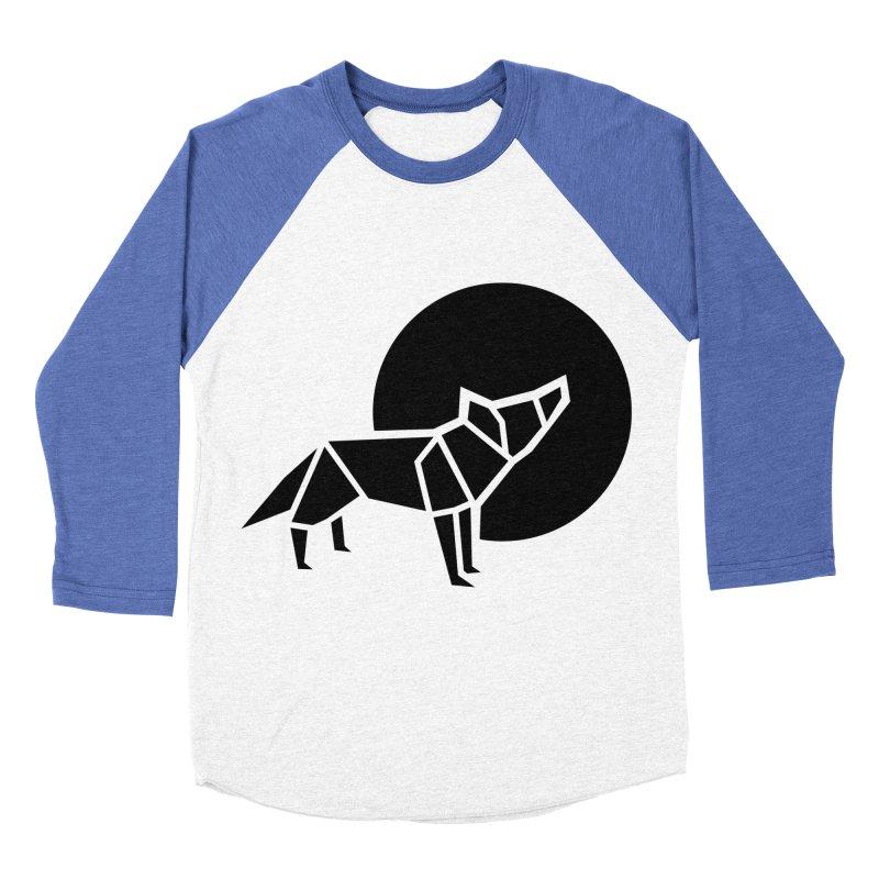 Black wolf origami Women's Baseball Triblend T-Shirt by Synner Design