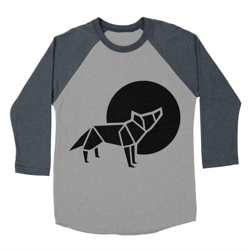 Black wolf origami Men's Baseball Triblend T-Shirt by Synner Design