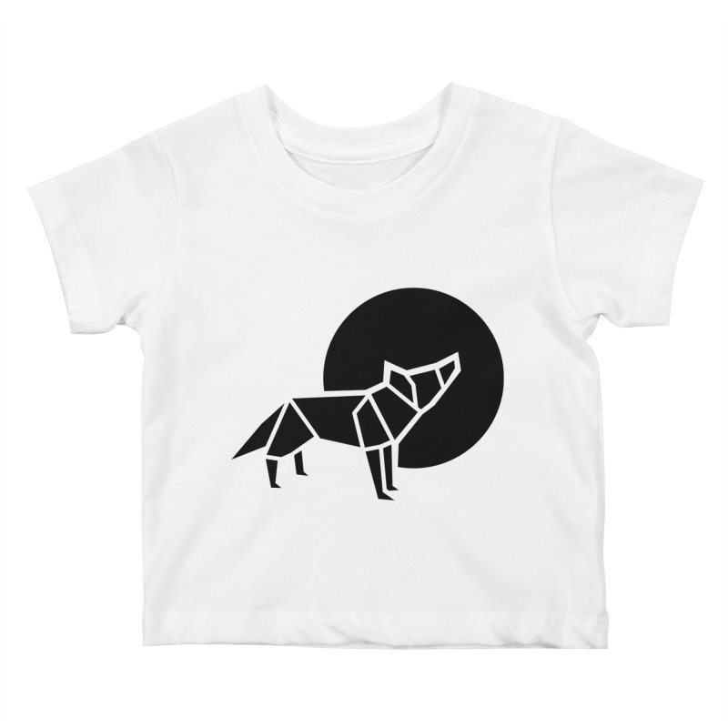 Black wolf origami Kids Baby T-Shirt by Synner Design