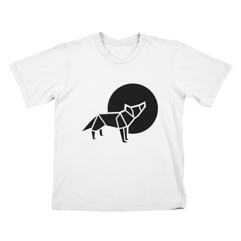 Black wolf origami Kids T-Shirt by Synner Design