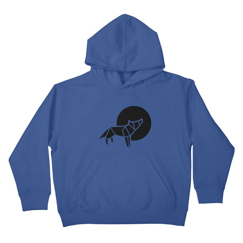 Black wolf origami Kids Pullover Hoody by Synner Design