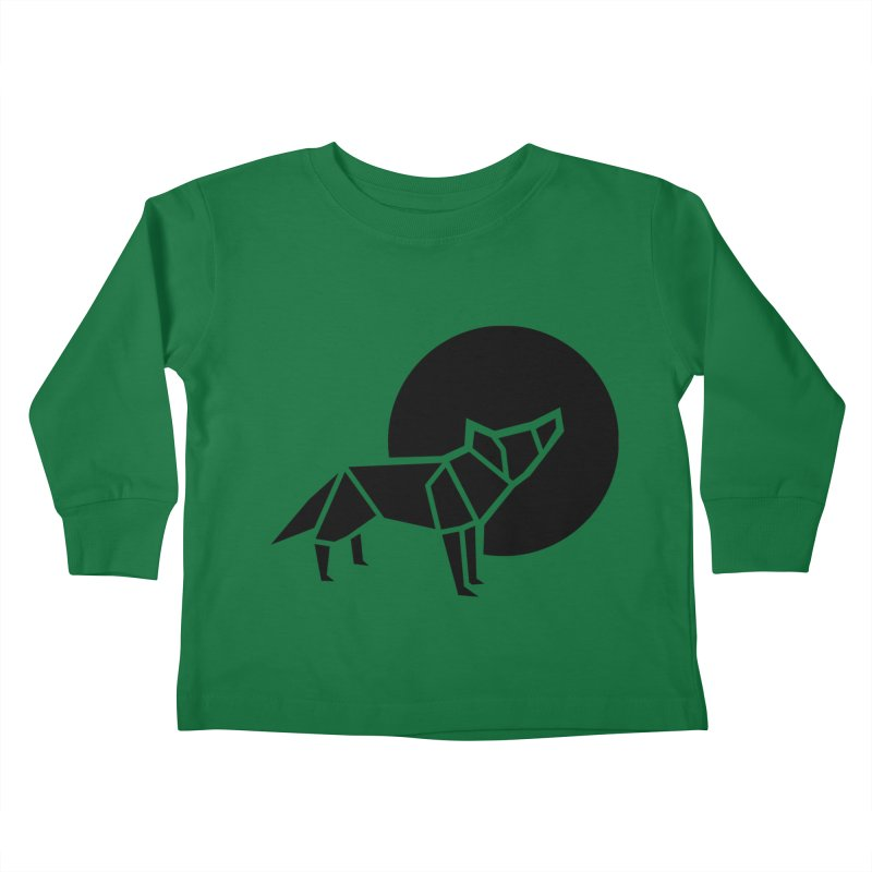 Black wolf origami Kids Toddler Longsleeve T-Shirt by Synner Design