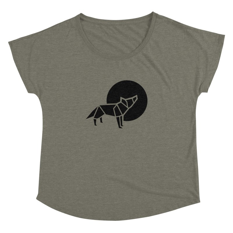 Black wolf origami Women's Dolman Scoop Neck by Synner Design