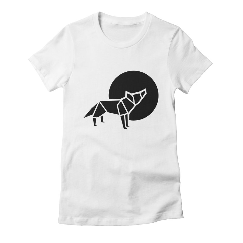 Black wolf origami Women's Fitted T-Shirt by Synner Design