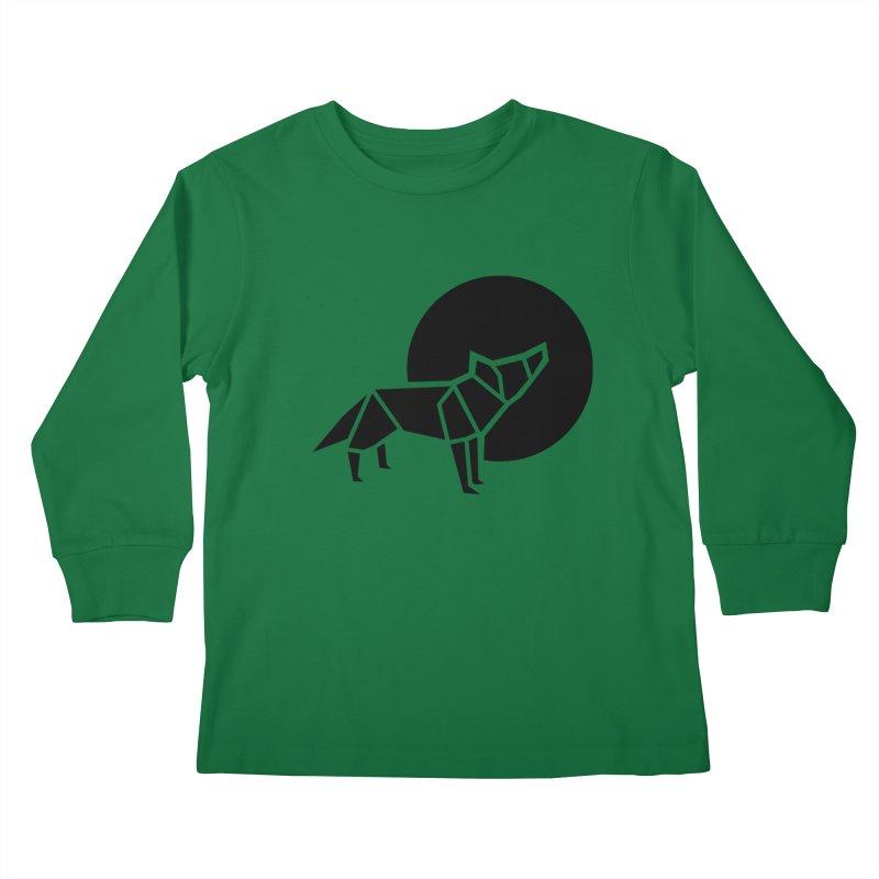 Black wolf origami Kids Longsleeve T-Shirt by Synner Design