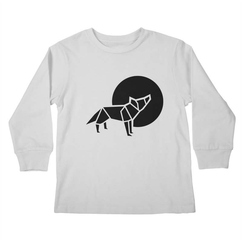 Black wolf origami Kids Longsleeve T-Shirt by Synner Design