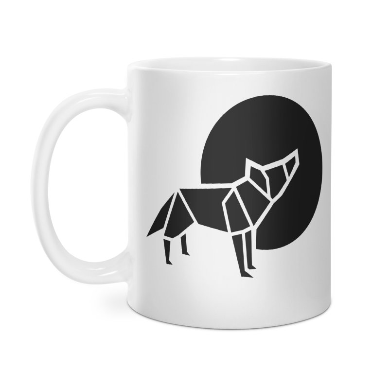Black wolf origami Accessories Mug by Synner Design