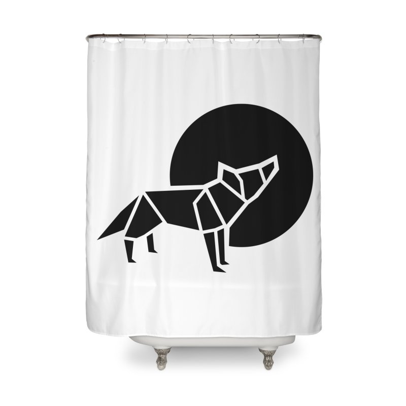 Black wolf origami Home Shower Curtain by Synner Design