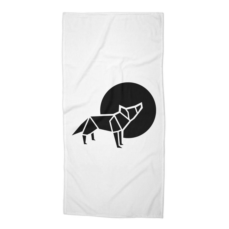 Black wolf origami Accessories Beach Towel by Synner Design