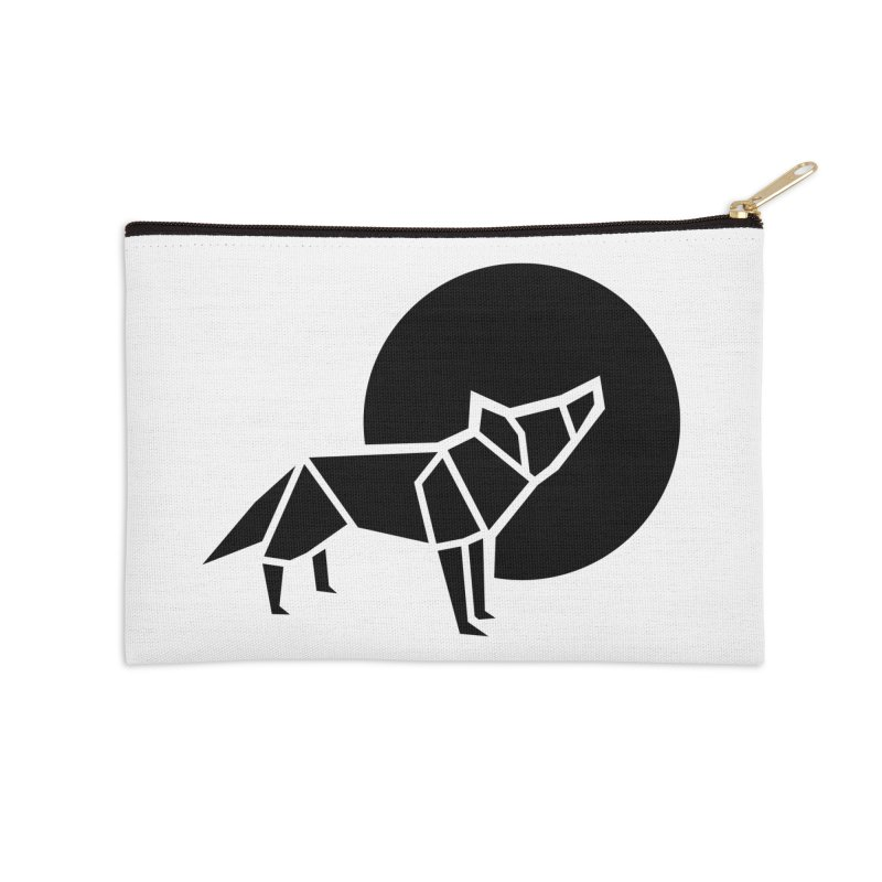 Black wolf origami Accessories Zip Pouch by Synner Design