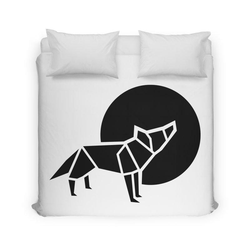 Black wolf origami Home Duvet by Synner Design