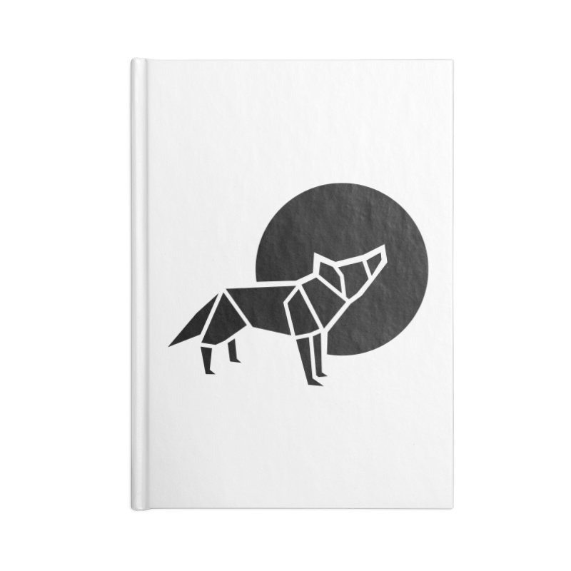 Black wolf origami Accessories Blank Journal Notebook by Synner Design