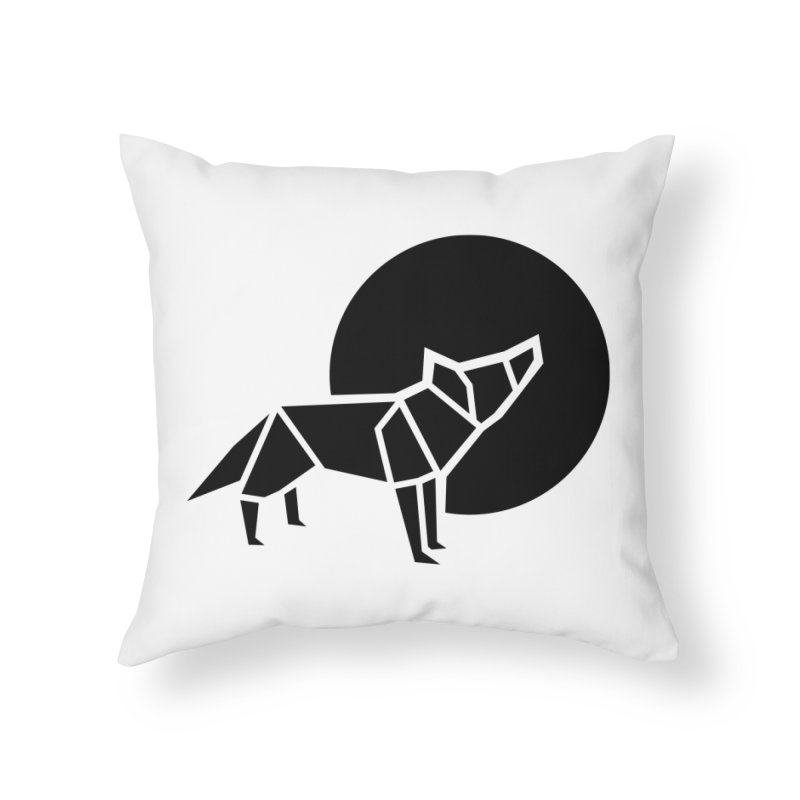 Black wolf origami Home Throw Pillow by Synner Design