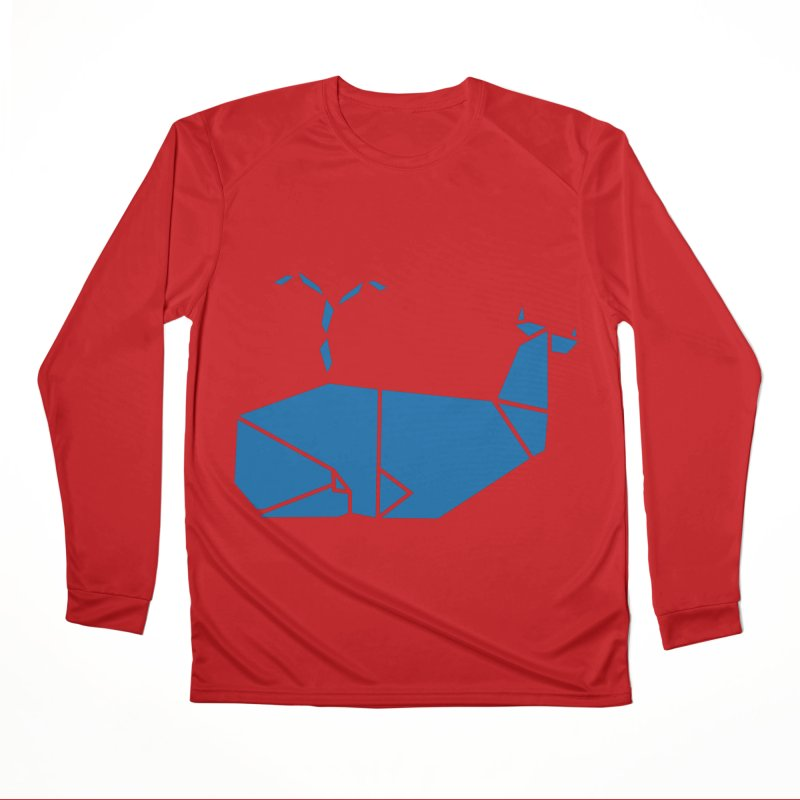 Blue Whale Origami Women's Performance Unisex Longsleeve T-Shirt by Synner Design
