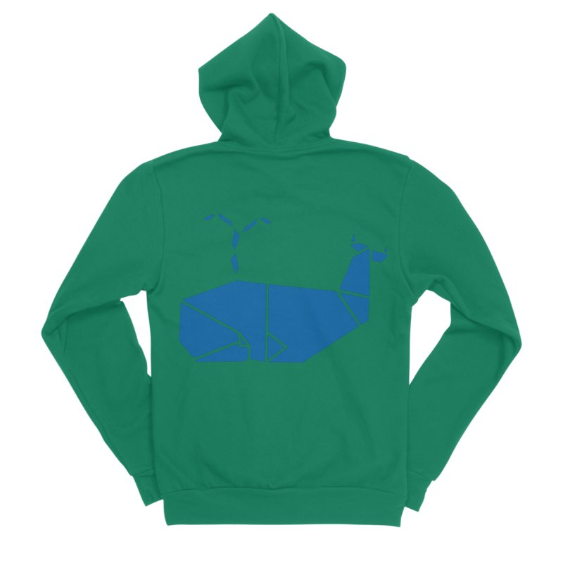 Blue Whale Origami Men's Sponge Fleece Zip-Up Hoody by Synner Design