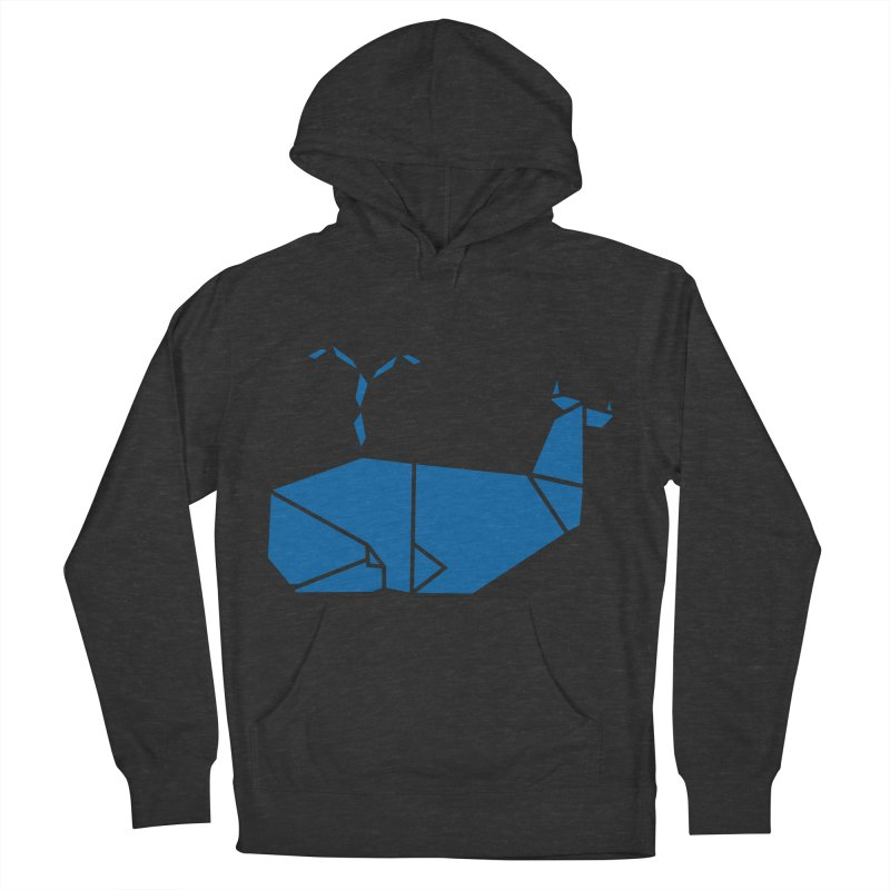 Blue Whale Origami Women's French Terry Pullover Hoody by Synner Design