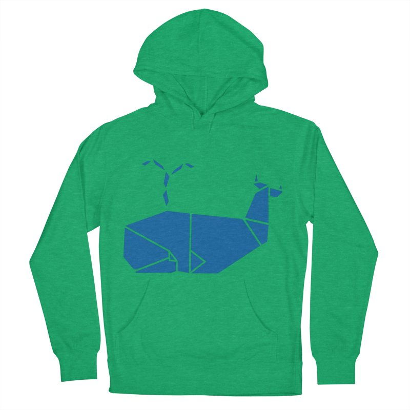 Blue Whale Origami Men's French Terry Pullover Hoody by Synner Design
