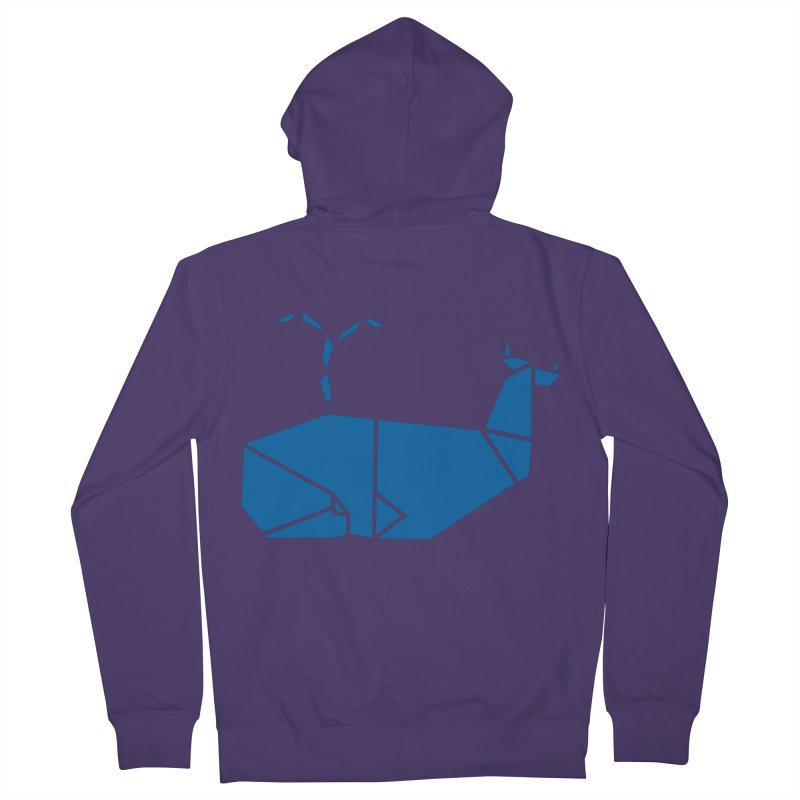 Blue Whale Origami Women's French Terry Zip-Up Hoody by Synner Design