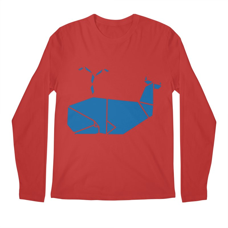 Blue Whale Origami Men's Regular Longsleeve T-Shirt by Synner Design