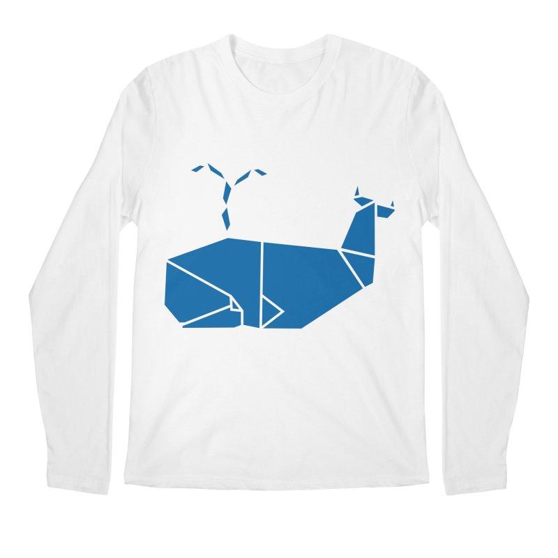 Blue Whale Origami Men's Regular Longsleeve T-Shirt by Synner Design