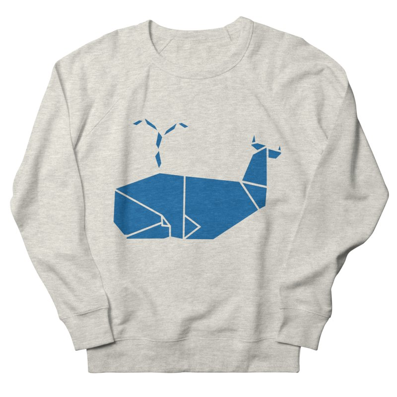Blue Whale Origami Women's French Terry Sweatshirt by Synner Design