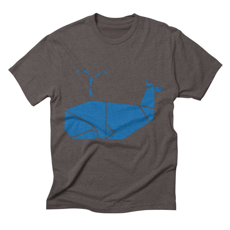 Blue Whale Origami Men's Triblend T-Shirt by Synner Design