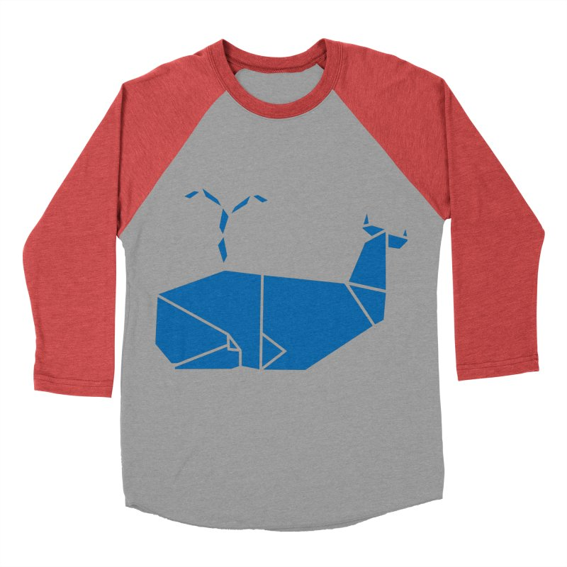 Blue Whale Origami Women's Baseball Triblend Longsleeve T-Shirt by Synner Design