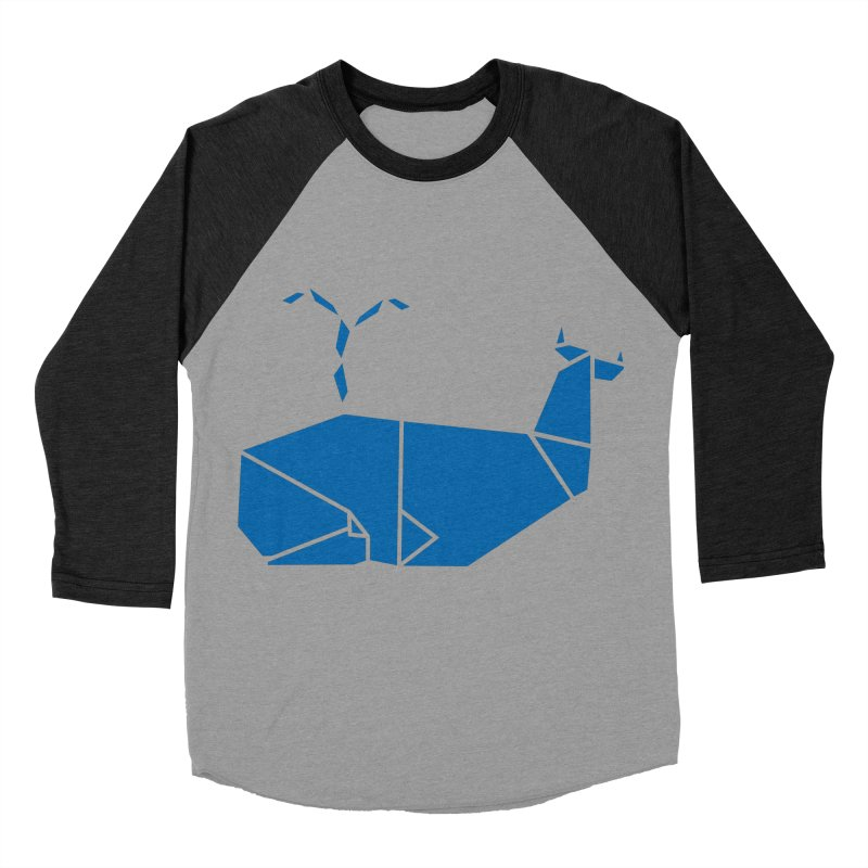 Blue Whale Origami Women's Baseball Triblend Longsleeve T-Shirt by Synner Design