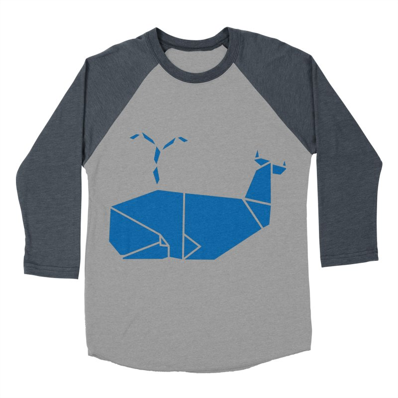 Blue Whale Origami Women's Baseball Triblend T-Shirt by Synner Design