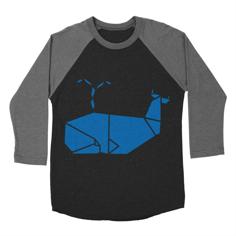 Blue Whale Origami Men's Baseball Triblend T-Shirt by Synner Design