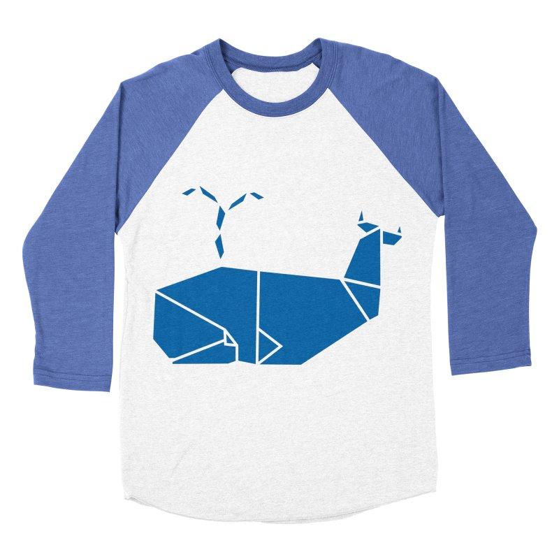 Blue Whale Origami Men's Baseball Triblend Longsleeve T-Shirt by Synner Design