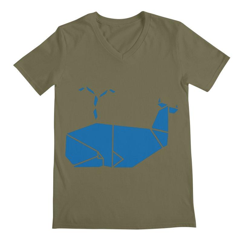 Blue Whale Origami Men's Regular V-Neck by Synner Design