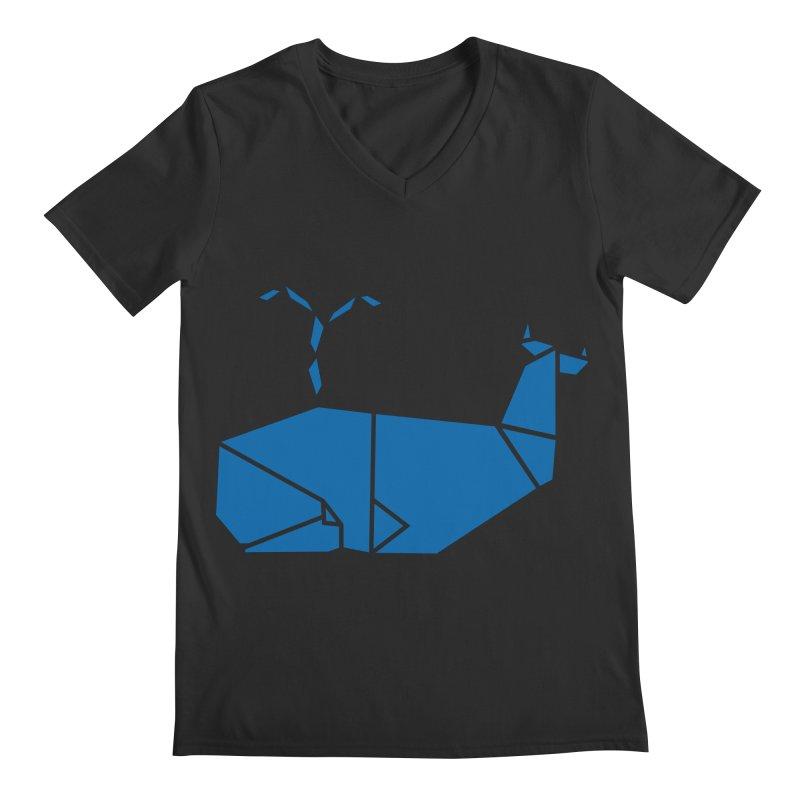 Blue Whale Origami Men's V-Neck by Synner Design
