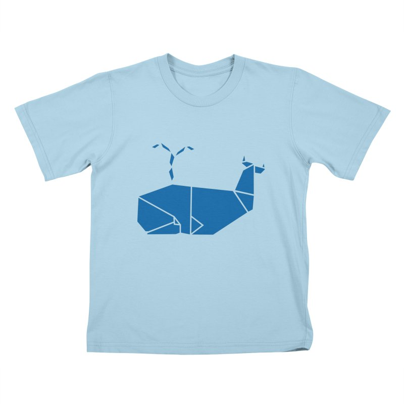 Blue Whale Origami Kids T-Shirt by Synner Design