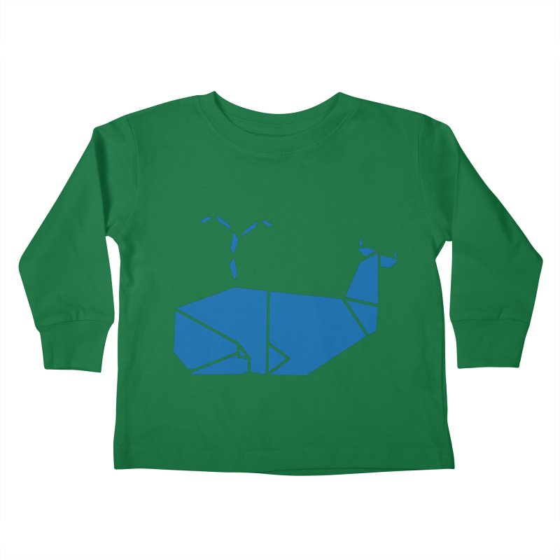 Blue Whale Origami Kids Toddler Longsleeve T-Shirt by Synner Design