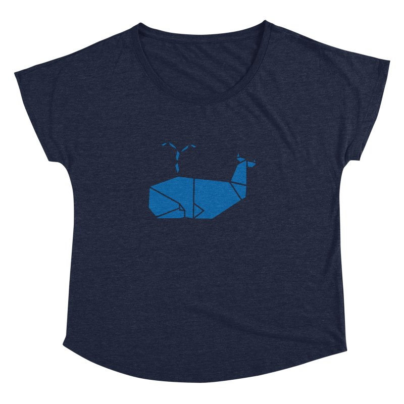 Blue Whale Origami Women's Scoop Neck by Synner Design