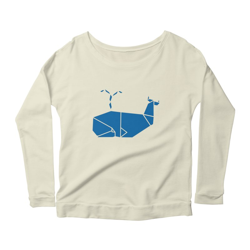 Blue Whale Origami Women's Scoop Neck Longsleeve T-Shirt by Synner Design
