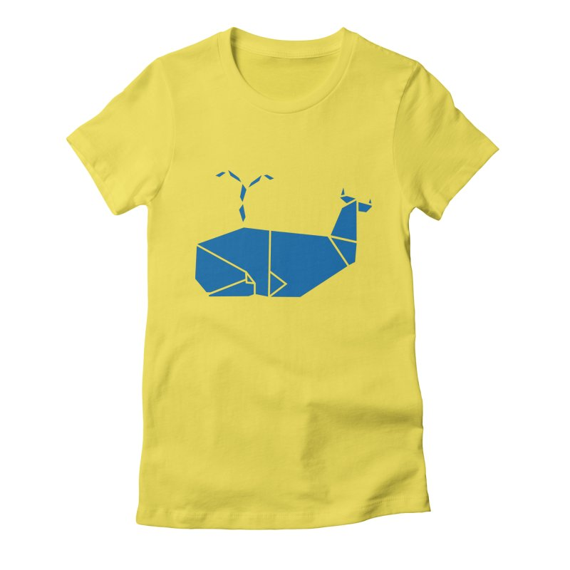 Blue Whale Origami Women's Fitted T-Shirt by Synner Design