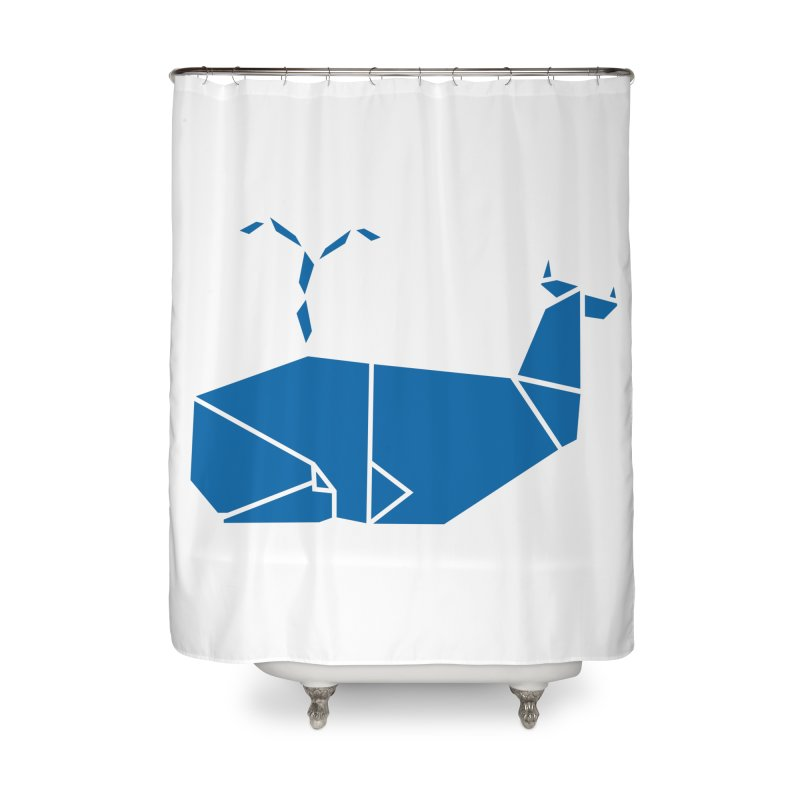 Blue Whale Origami Home Shower Curtain by Synner Design