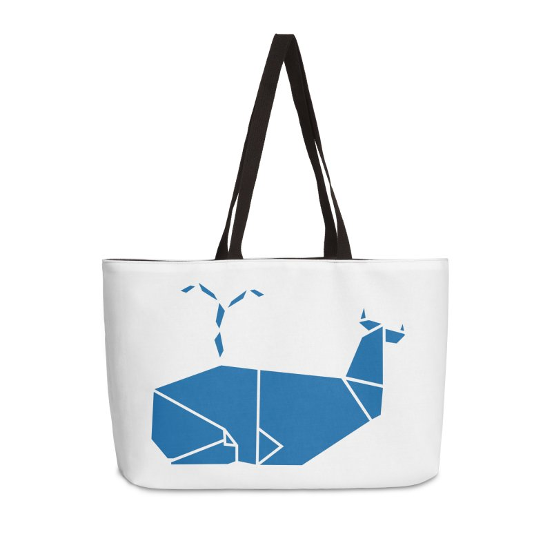 Blue Whale Origami Accessories Weekender Bag Bag by Synner Design