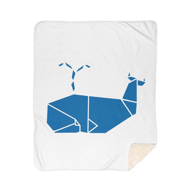 Blue Whale Origami Home Sherpa Blanket Blanket by Synner Design
