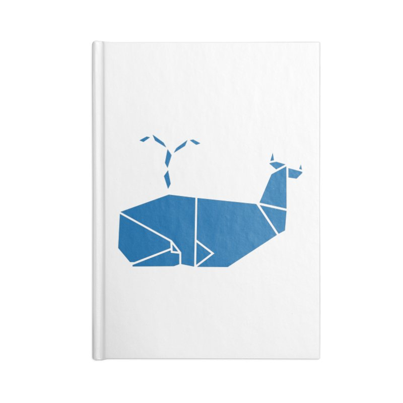 Blue Whale Origami Accessories Blank Journal Notebook by Synner Design