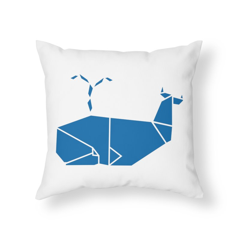 Blue Whale Origami Home Throw Pillow by Synner Design