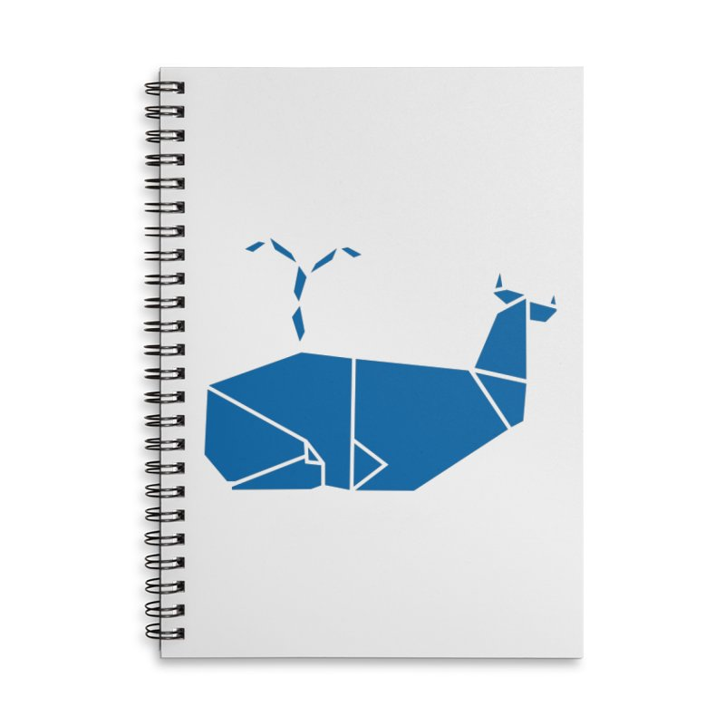 Blue Whale Origami Accessories Lined Spiral Notebook by Synner Design
