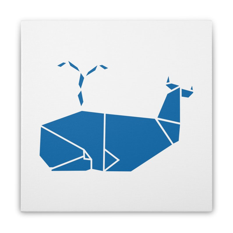 Blue Whale Origami Home Stretched Canvas by Synner Design