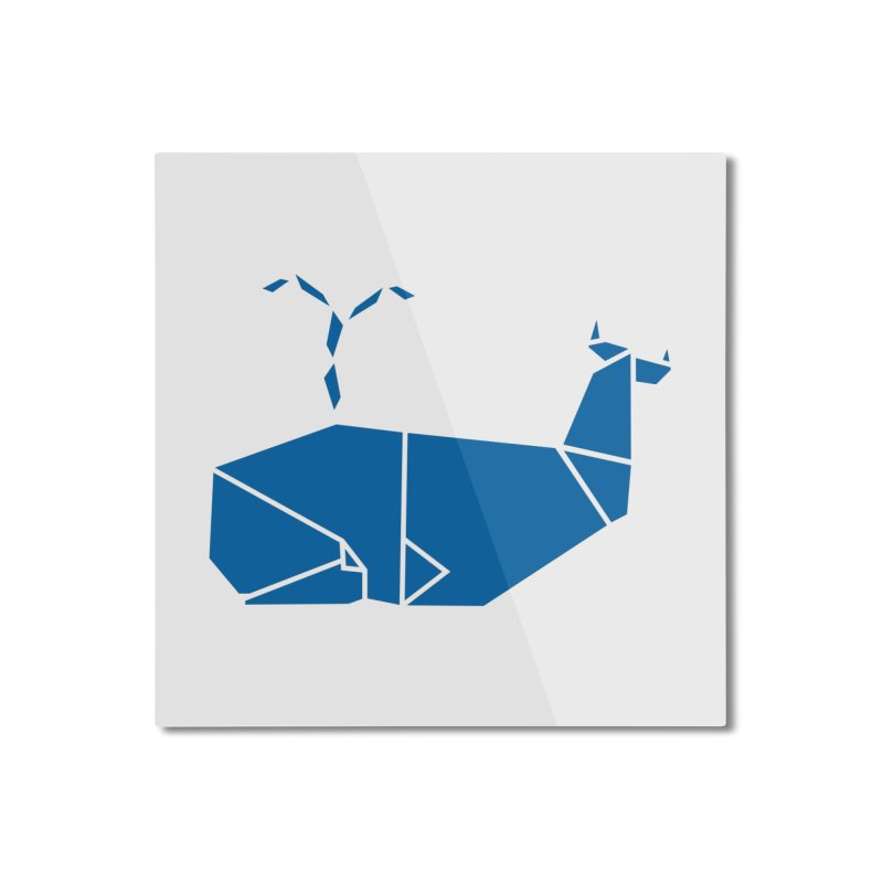 Blue Whale Origami Home Mounted Aluminum Print by Synner Design